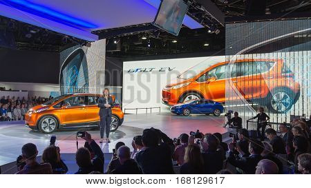 DETROIT MI/USA - JANUARY 12 2015: GM CEO Mary Barra / 2016 Chevrolet Bolt EV concept at the North American International Auto Show (NAIAS) one of the most influential car shows in the world each year.