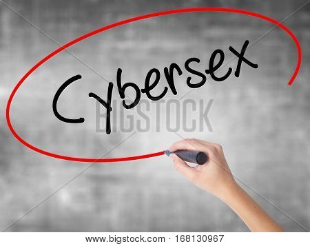 Woman Hand Writing Cybersex  With Black Marker Over Transparent Board