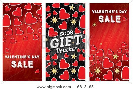 Valentine's Day Sale Banner Set with Red Hearts.