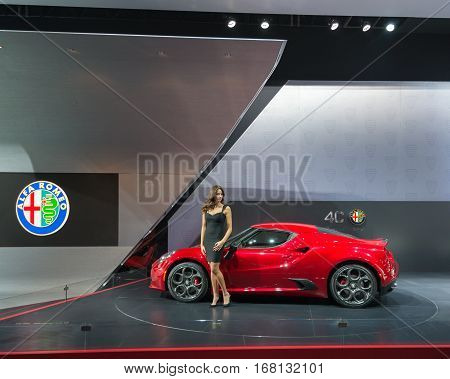 DETROIT MI/USA - JANUARY 12 2015: Alfa Romeo 4C Spider at the North American International Auto Show (NAIAS) one of the most influential car shows in the world each year.