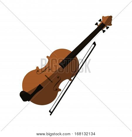 fiddle instrument icon over white background. colorful design. vector illustration