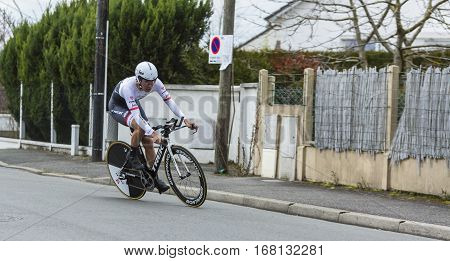 Conflans-Sainte-HonorineFrance-March 62016: The Japanese cyclist Fumiyuki Beppu of Trek-Segafredo Team riding during the prologue stage of Paris-Nice 2016.