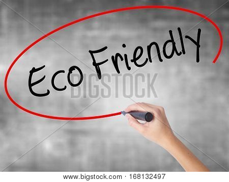 Woman Hand Writing Eco Friendly With Black Marker Over Transparent Board