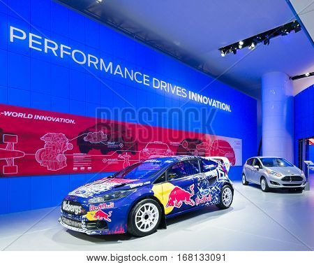 DETROIT MI/USA - JANUARY 12 2015: Olsbergs MSE Ford Fiesta ST RallyCross racecar at the North American International Auto Show (NAIAS) one of the most influential car shows in the world each year.