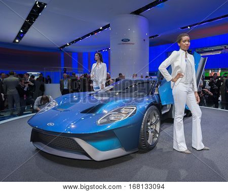 DETROIT MI/USA - JANUARY 12 2015: 2016 Ford GT at the North American International Auto Show (NAIAS). 2015 EyesOn Design Best Designed Production Vehicle.