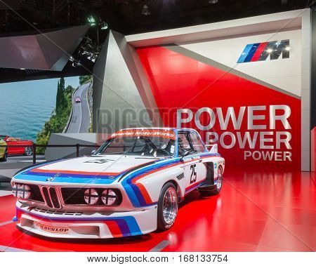 DETROIT MI/USA - JANUARY 12 2015: 1975 BMW CSL #25 IMSA racecar at the North American International Auto Show (NAIAS). Drivers Brian Redman and Ronnie Peterson.