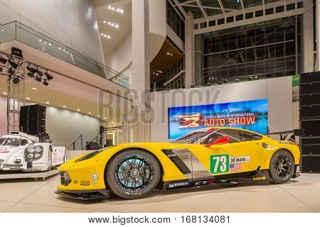 DETROIT MI/USA - JANUARY 13 2015: Chevrolet Corvette Z06 C7.R #73 racecar at the North American International Auto Show (NAIAS) one of the most influential car shows in the world each year.