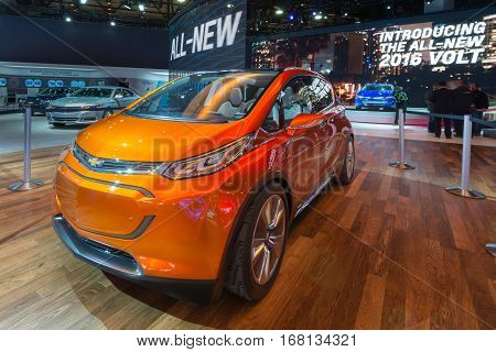 DETROIT MI/USA - JANUARY 13 2015: 2016 Chevrolet Bolt EV concept car at the North American International Auto Show (NAIAS) one of the most influential car shows in the world each year.