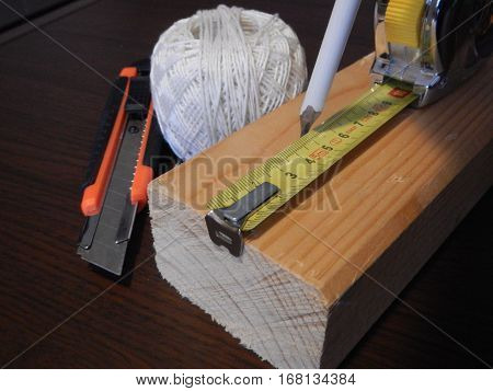 Wooden Prosm With Other Tools For Handy Men