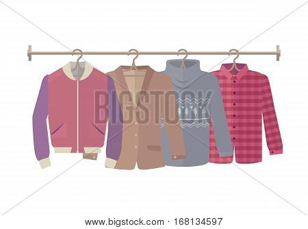 Autumn sale vector web banner. Flat design. Mens jacket, coat, sweater, warm shirt hanging on the hangers. Seasonal discounts in clothing store concept. For boutique promotions landing page design