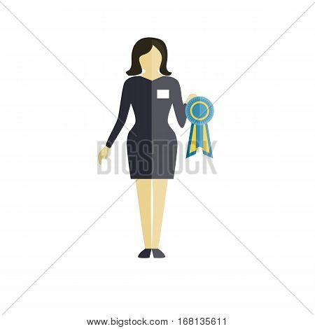 Expert of dog show - women in grey costume with award. flat vector illustration