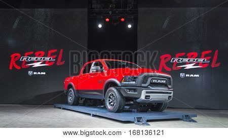 DETROIT MI/USA - JANUARY 13 2015: Dodge RAM 1500 Rebel truck at the North American International Auto Show (NAIAS) one of the most influential car shows in the world each year.