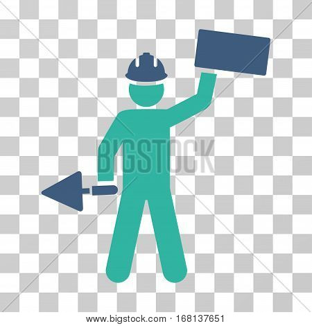 Builder With Brick icon. Vector illustration style is flat iconic bicolor symbol, cobalt and cyan colors, transparent background. Designed for web and software interfaces.