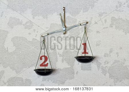 Accurate measurement with balance showing ratio two to one