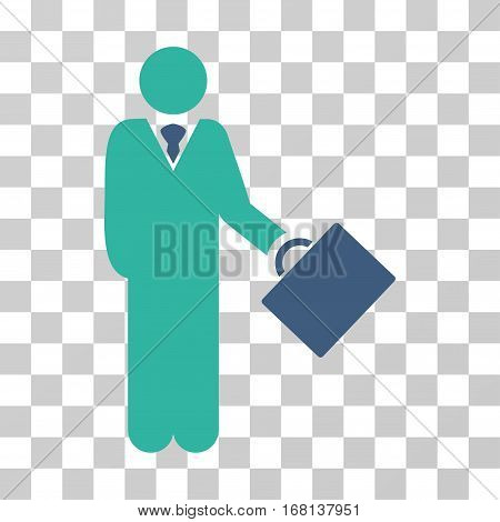 Businessman icon. Vector illustration style is flat iconic bicolor symbol, cobalt and cyan colors, transparent background. Designed for web and software interfaces.