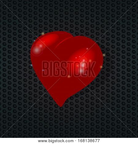 3D Illustration of Love Red Heart Over Metallic Honeycomb Background with Lens Flares