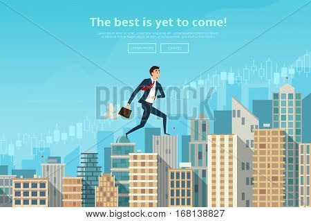 Businessman walking up the career stairs. Concept of web banner with person running to the sucsess. Modern flat design of urban landscape with city buildings. Vector illustration.