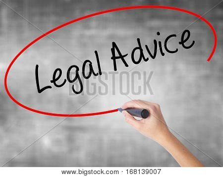 Woman Hand Writing Legal Advice With Black Marker Over Transparent Board