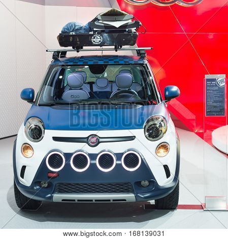 DETROIT MI/USA - JANUARY 20 2015: Fiat 500L at the North American International Auto Show (NAIAS) one of the most influential car shows in the world each year.