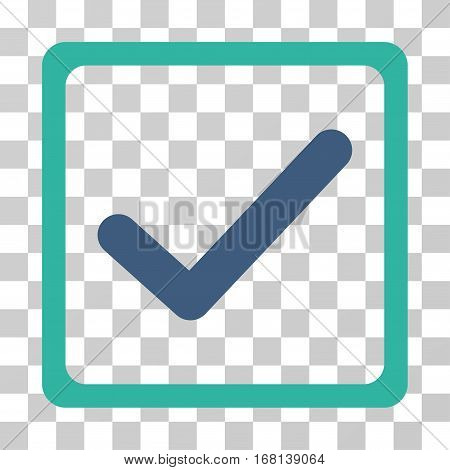 Checkbox icon. Vector illustration style is flat iconic bicolor symbol, cobalt and cyan colors, transparent background. Designed for web and software interfaces.