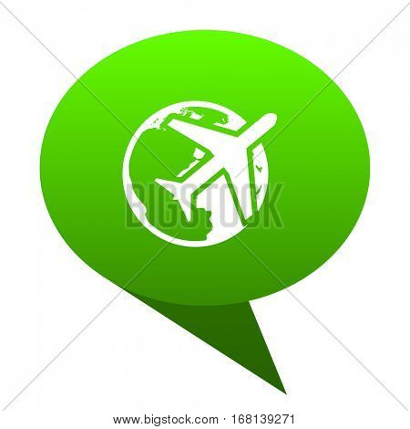 travel green bubble web icon