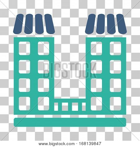 Company icon. Vector illustration style is flat iconic bicolor symbol, cobalt and cyan colors, transparent background. Designed for web and software interfaces.