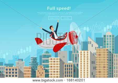 Businessman flying by the airplane on career stairs. Concept of web banner with person flying on plane to the sucsess. Modern flat design of urban landscape with city buildings. Vector illustration.