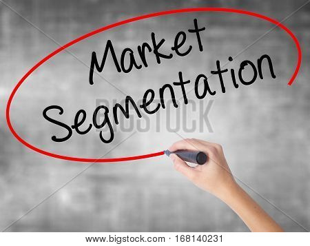 Woman Hand Writing Market Segmentation With Black Marker Over Transparent Board.