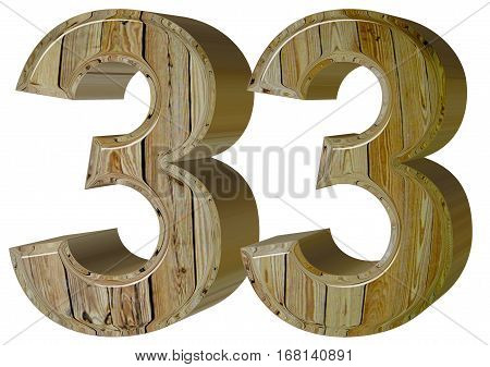 Numeral 33, Thirty Three, Isolated On White Background, 3D Rende