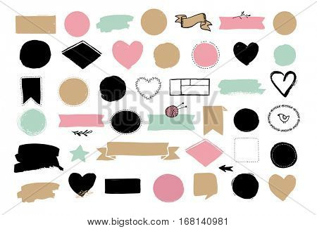 Set of hand drawn shapes - hearts, ribbons, banners and circles, Vector design elements