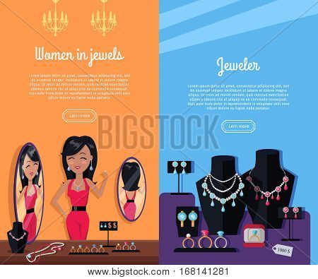 Women in jewels and jeweler template poster. Jewelry banner concept design. Diamond and jewellery on model, necklace and jewels, jewelry model, ring fashion jewelry, store jewelry shop window. Vector