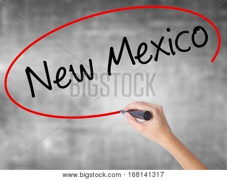 Woman Hand Writing New Mexico With Black Marker Over Transparent Board