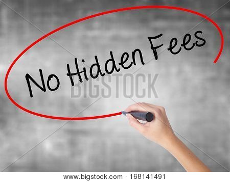 Woman Hand Writing No Hidden Fees With Black Marker Over Transparent Board