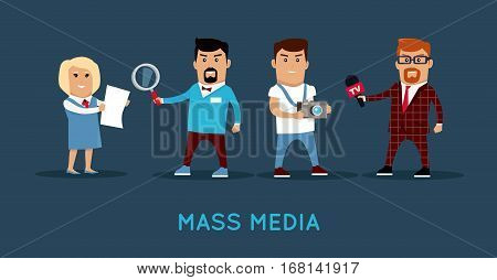 Mass media workers characters vector. Flat style design. TV reporter, journalist, photographer, investigator illustration. Media profession concept banner for web design, avatars, infographic.