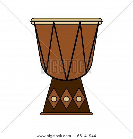 djembe drum instrument icon over white background. colorful design. vector illustration