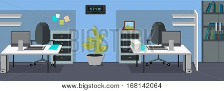 Workplace and working break horizontal web banner in flat style. Bright office interior design with modern furniture, plants, racks with documents and ceiling light. Comfortable place for work