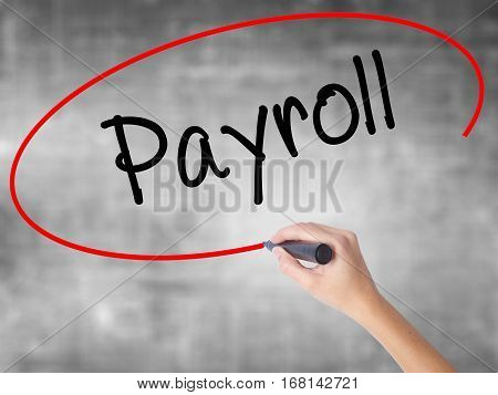 Woman Hand Writing Payroll With Black Marker Over Transparent Board