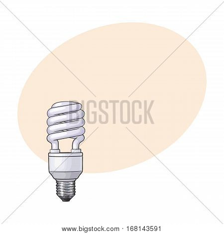 Fluorescent, energy saving, spiral light bulb, side view, sketch style vector illustration with place for text. Realistic hand drawing of spiral fluorescent light bulb, energy saving concept