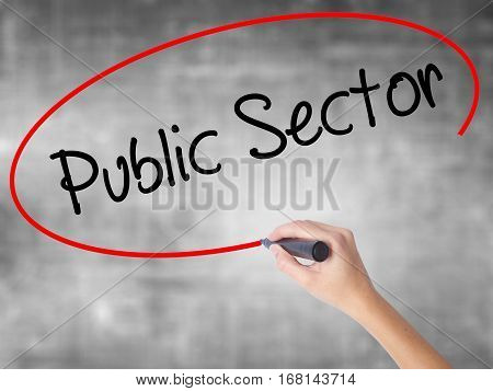 Woman Hand Writing Public Setor With Black Marker Over Transparent Board.