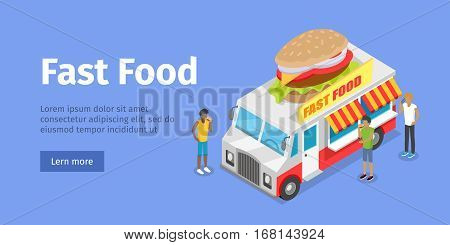 Street fast food web banner. Eatery on wheels with hamburger on roof surrounded buyers isometric vector on blue background. Van food store with signboard illustration for restaurant, cafe, snack bar ad