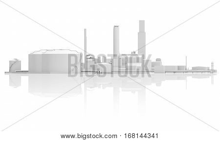 Abstract Industrial Facility 3D Model