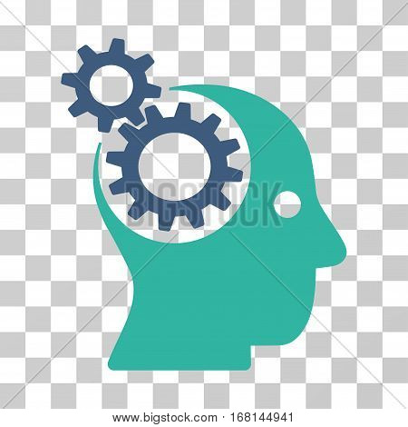 Intellect Gears icon. Vector illustration style is flat iconic bicolor symbol, cobalt and cyan colors, transparent background. Designed for web and software interfaces.