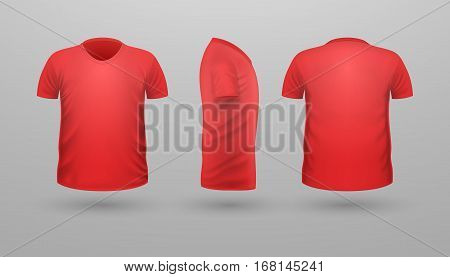 T-shirt template set, front, side, back view. Red color. Realistic vector illustration in flat style. Sport clothing. Casual men wear. Cotton unisex polo outfit. Fashionable apparel.