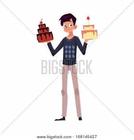 Young man holding birthday cakes in raised hands, getting ready for party, cartoon vector illustration isolated on white background. Young man holding choice of two birthday cakes
