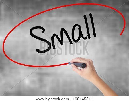 Woman Hand Writing Small With Black Marker Over Transparent Board.
