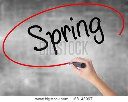 Woman Hand Writing Spring With Black Marker Over Transparent Board.