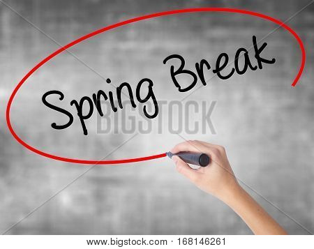 Woman Hand Writing Spring Break No With Black Marker Over Transparent Board