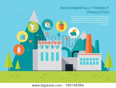 Environmentally friendly production. Processing plant waste on mountain landscape. Waste recycling concept. Recycling process different types of waste. Garbage destroying. Environment protection.