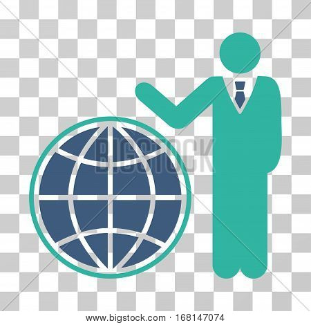 Planetary Manager icon. Vector illustration style is flat iconic bicolor symbol, cobalt and cyan colors, transparent background. Designed for web and software interfaces.