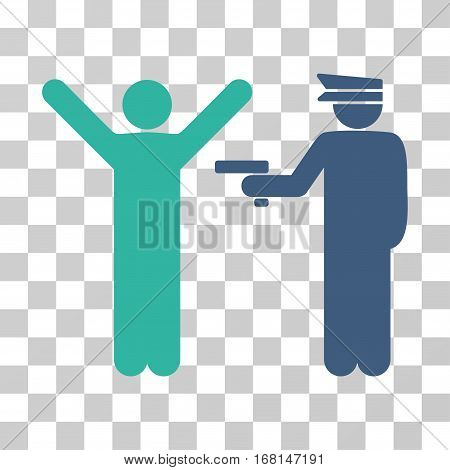 Police Arrest icon. Vector illustration style is flat iconic bicolor symbol, cobalt and cyan colors, transparent background. Designed for web and software interfaces.